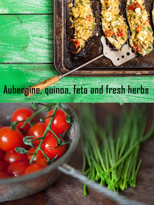 Aubergine with quinoa and fresh herbs