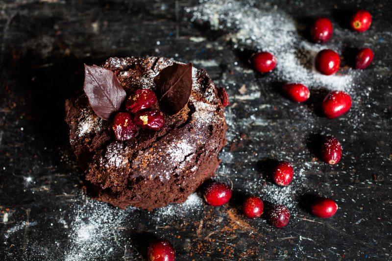 Chocolate, orange and cranberry christmas cake-1-3