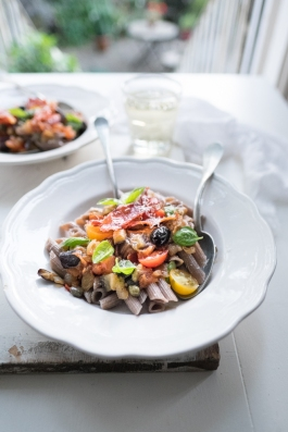 Buckwheat pasta with aubergine & tomato-3