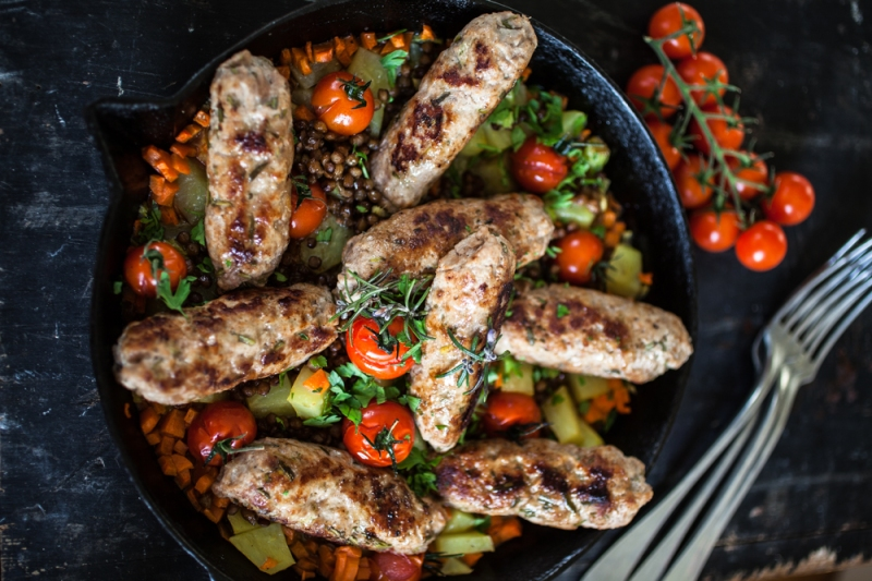 sausages-with-lentils